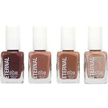 Eternal 4 Collection – Set of 4 Nail Polish: Long Lasting, Mirror Shine, Quick Dry, Neutral Colors (Dark Nudes)