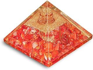 PREK Natural Carnelian Crystal Orgone Pyramid Gemstone for Chakra Balancing & EMF Protection Home and Office Decor Showpie...
