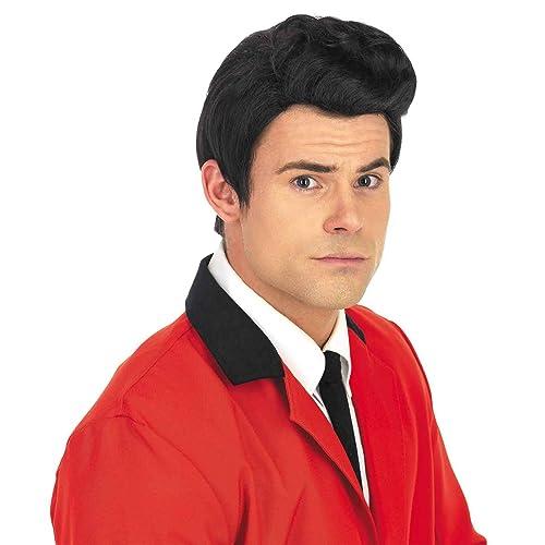 Men/'s Grease Rock Star Wig Elvis Wig Fancy Dress 50/'s 60/'s Retro King Teddy Boys
