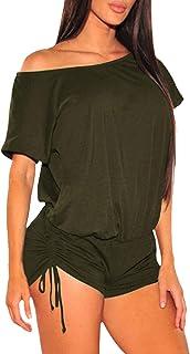 Fixmatti Women Off Shoulder Loose Top Ruched Drawstring Short Rompers