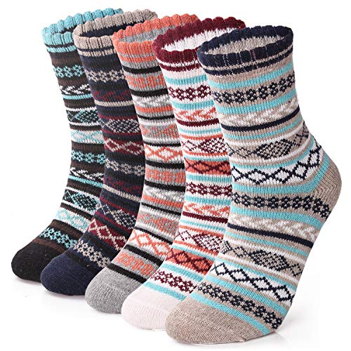5 Pairs Thermal Womens Socks Warm Thick Knitting Winter Sock for Ladies (UK...