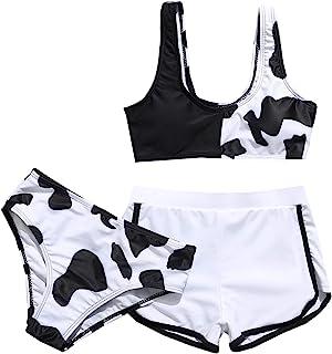 Girl's 3 Piece Swimsuits Cow Print Bikini Bathing Suit...