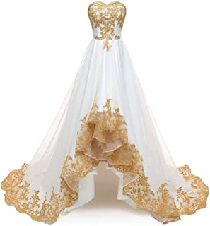 35583e55e01 ModeC Evening Dresses Gold Lace Applique Hi-Lo Prom Ball Gown Party Dress