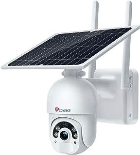 Caméra Surveillance Solaire WiFi avec Panneau Solaire Ctronics Caméra IP sans Fil Extérieure sur Batterie 14400mAh Double ...