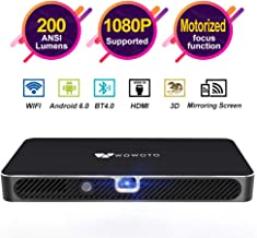 "$249 » Mini Projector WOWOTO A8 Pro 200 ANSI Lumen Android 6.0 Support Full HD 1080P Smart Wi-Fi Projector 4200mAh battery 150""Image DLP Video Projector with BT4.0/HDMI/USB/Outdoor Projector for Home Theater"