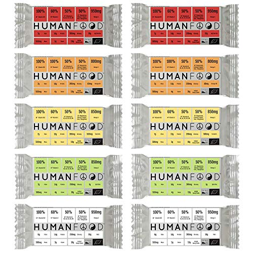 Human Food - Vegan Protein Bar - 10 Pack - Organic Plant Based Daily Nutrition Bars Filled with Vitamins - Mixed Flavours