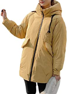 Jofemuho Mens Hooded Print Thicker Warm Winter Loose Fit Down Quilted Jacket Coat Parka
