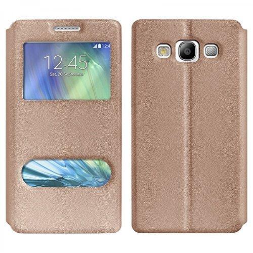 imoxx- Custodia Custodia S-View oro per Samsung Galaxy Note 5