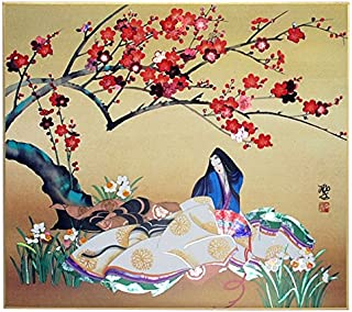 Japanese Shikishi Tales of Genji Fine Art Reproduction Board #S-6, Made in Japan