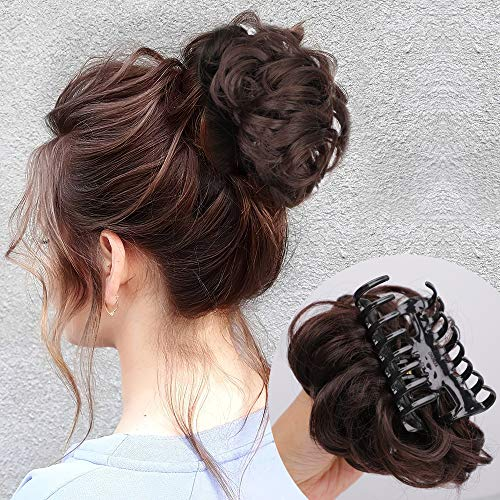 DeeThens Claw Clip in Hair Bun Messy Curly Clip in Claw Hair Hairpieces Natural Wavy Curly Combs add Hair Volume for Women (Darkest Brown & Dark Auburn Mixed).