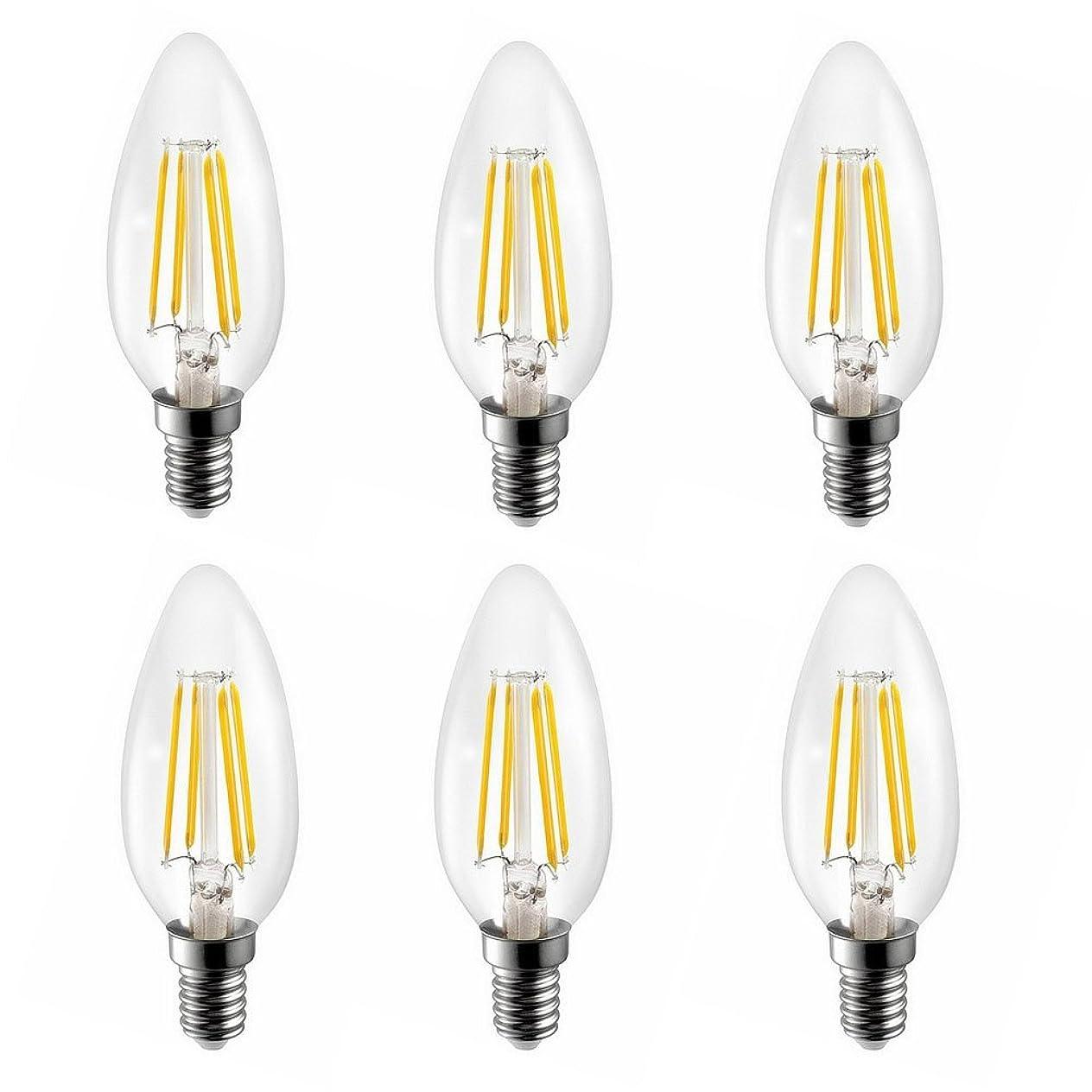 無能管理しますシネマKiven E17 口金 4W LED電球 電球色 2700K ?蝋燭型 LEDクリア電球 天井照明 装飾 ? シャンデリア用 LED フィラメント電球 (6個入)
