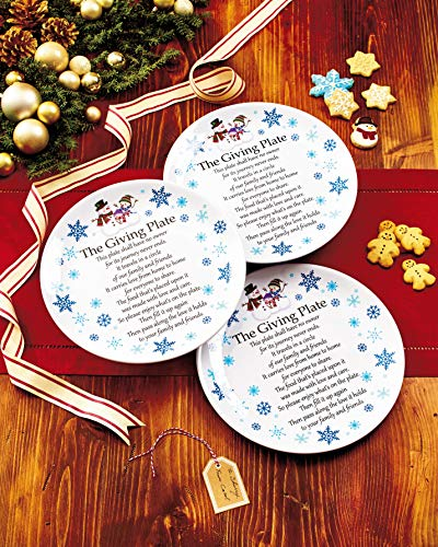 Melamine Giving Plates with Painted Snowmen Trim - Set of 3 (Color May Vary)