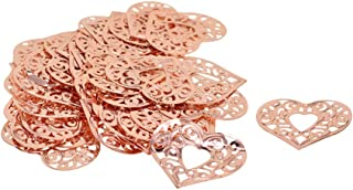 dailymall 50Pcs Filigree Heart Charms Beads Bulk for DIY Craft Pendants Bracelet Necklace Earring Keychain Jewelry Making Finding Accessories - Rose Gold