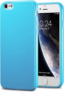 TENOC Phone Case Compatible for Apple iPhone 6S Plus and iPhone 6 Plus 5.5 Inch, Slim Fit Soft TPU Cover Bumper Glossy Finish Coating Light Blue