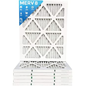Box of 6 25x25x1 MERV 8 Pleated AC Furnace Air Filters