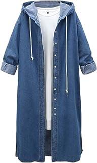 JSYAU Womens Long Sleeve Hooded Denim Cardigan Drawstring Jacket Loose Trench Coat
