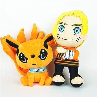CostaSol 2pcs Naruto Kurama Kyuubi Plush Nine Tails Stuffed Doll Birthday Gift Toy Anime (2pcs Set)