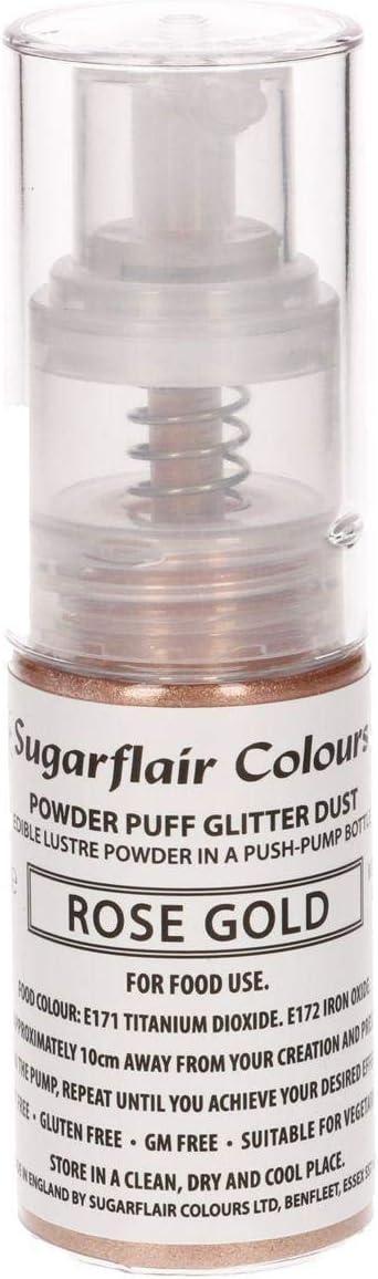 Sugarflair Comestible Polvo Soplo No-Aerosol Spray de Brillo - ORO ROSA