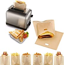 Toastie Bags for Toaster Grill Bags Non-Stick Washable Teflon Heat Resistant Toaster Bag Reusable Gluten Free Snacks Stora...