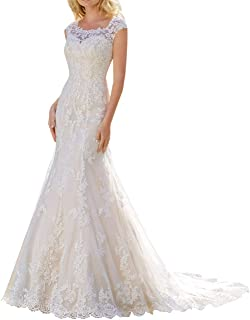 Wedding Dress for Bride Lace Bridal Dress Mermaid Bride Dresses with Long Train