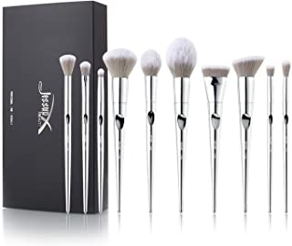 Jessup cosmetic brush set - 10pcs luxurymakeupbrushes with Blending brush flat kabuki brush flat contour brush Blush Brush precisionbrush T261
