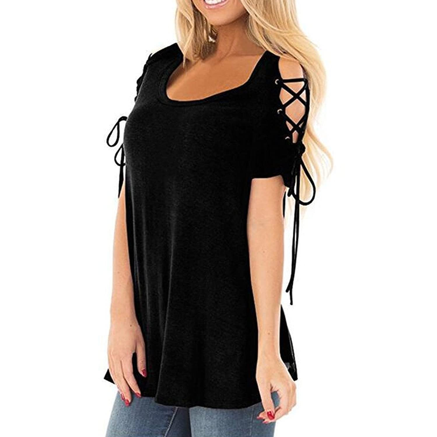 Amlaiworld Women Plus Size T Shirt Summer Tee Tops Sexy Solid O-Neck Stitching Strapless Short Sleeved Casual Shirt Blouse