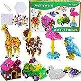 Sephywans Cuentas para planchar, 4450 Pcs 5mm 14 Colores Fuse Beads Set para Niños DIY Manualidad,Mini Abalorios Cuentas de Hierro fusibles with papel de patrones,tableros de formas