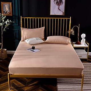 B/H Doux et Lisse Que Drap-Housse,Drap de lit en Coton antidérapant, Couvre-lit Respirant de Couleur Unie-Or_150 * 200 * 3...