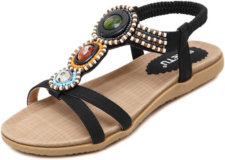 Lelehwhge Women's Bohemian Beaded T-Strap Gladiator Comfort Flat Sandals Beige 4 M US
