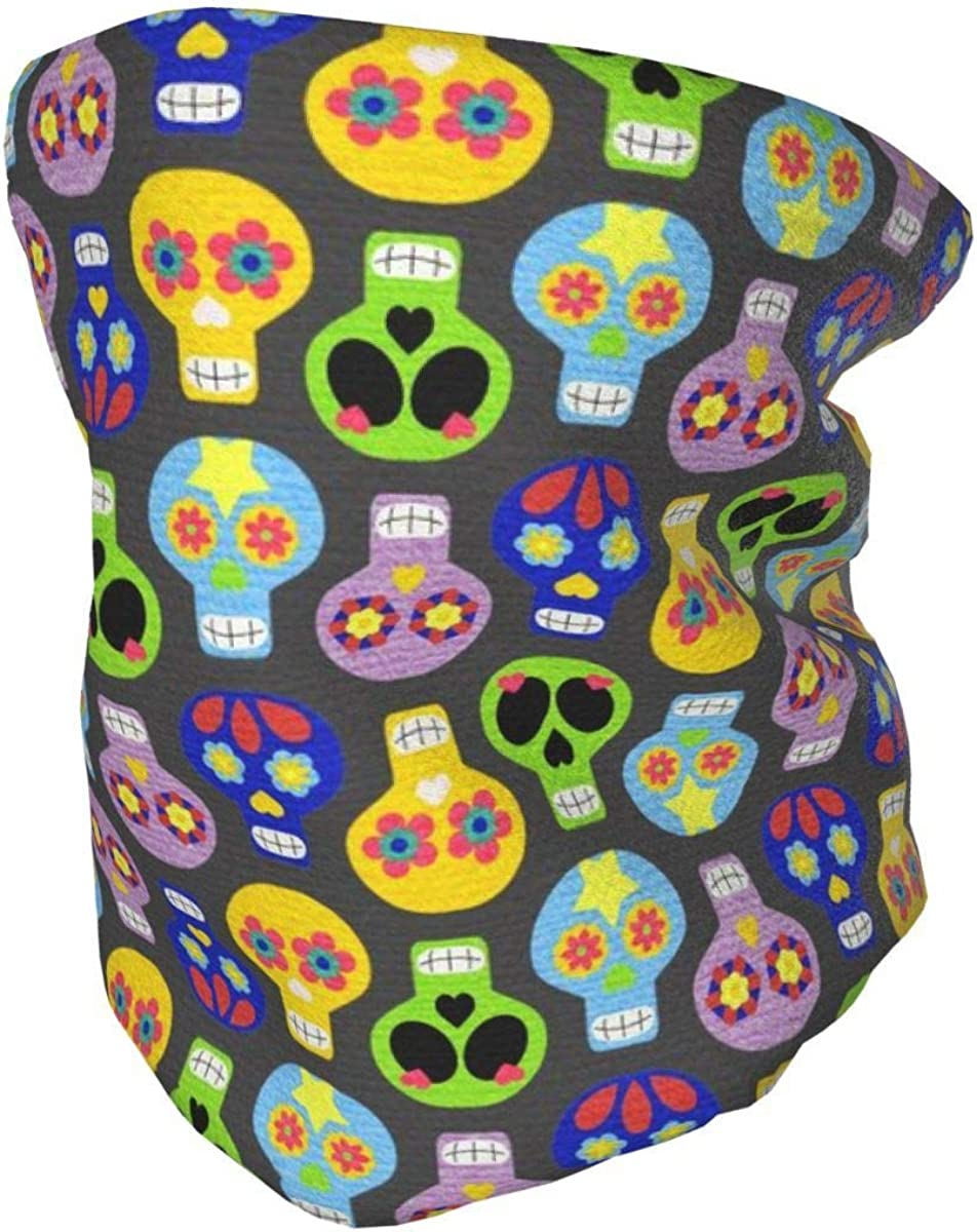 YXYXN Colored skull Children's neck warm scarf outdoor skiing cold weather autumn and winter neck protection mask and snood suitable for children aged 4-10 can be reused