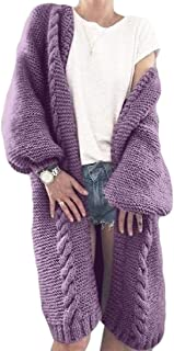 Women's Warm Loose Open Front Long Sleeve Knitted Long Cardigan Jumper Sweater Top