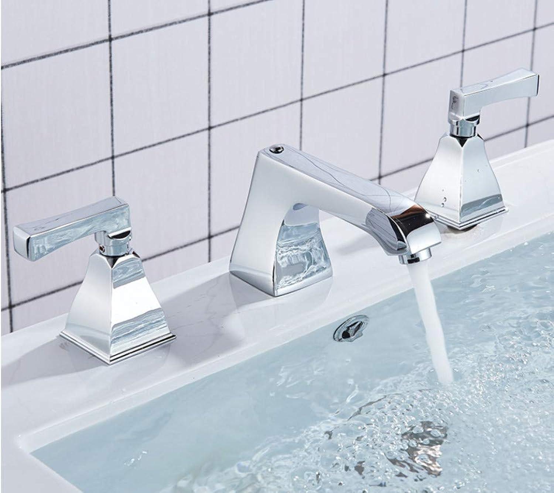 Xiehao 3 Stücke Becken Wasserhahn Massivem Messing Dual Griff Deck Montieren Bad Waschen Wasserhahn Für Kalt-Und Warmwasser Waschbecken Mischbatterien