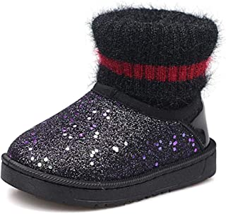 Baby Boys Girls Sequins Snow Boots Toddler Kids Waterpoof Plush Warm Winter Shoes