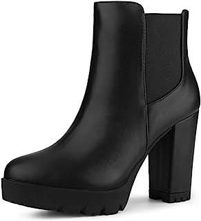 Allegra K Women's Round Toe Zipper Block Heel Platform Ankle Boots