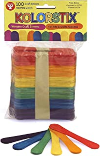 Hygloss Products Colored Craft Sticks – Vibrant Wood Popsicle Sticks Spoons - 3.75 Inches, 100 Mixed Colors