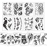 Konsait 15 grandes hojas negro tatuajes temporales para adultos hombres mujer dragón león lobo escorpión mandala flores falso tatuajes impermeables temporales