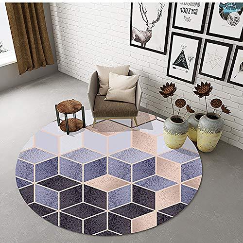 Lila Bodenschutzmatte für Büro und zu Hause Schreibtisch Stühle, Bodenmatte Stuhlunterlage für Wohnzimmer Schlafzimmer, Bürostuhl Unterlage mit Würfel Gebäude Muster,Purple-100cm