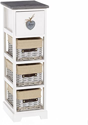 compra en línea hoy Lola Lola Lola Derek - Cajonera de 4 cajones romántica blancoa de madera para dormitorio France  tienda en linea