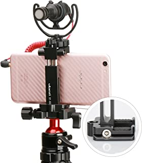Ulanzi ST-03 Metal Smart Phone Tripod Mount with Cold Shoe Mount and Arca-Style Quick Release Plate for iPhone Xs Xs Max X 8 7 Plus Samsung,Cell Phone Tripod Holder Clip Adapter for Joby GorillaPod