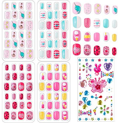 96 Stück Nägel Zum Aufkleben für Kinder, Selbstklebende Künstliche Fingernägel Set Falsche Kunstnägel mit Selbstklebend Strasssteine für Mädchen Kleinen Händen Damen