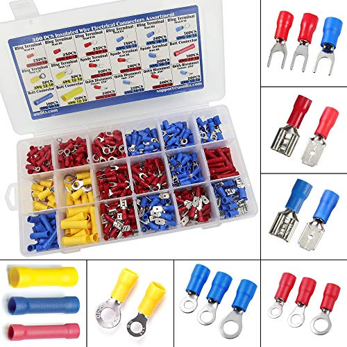 Amlits 300 PCS Insulated Wire Electrical Connectors - Butt, Ring, Spade, Quick Disconnect - Crimp Terminals Connectors Assortment Kit