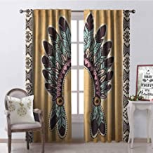 GloriaJohnson Tribal Wear-Resistant Color Curtain Native American Feather Headband on Vintage Background Folk Aztec Illustration Waterproof Fabric W52 x L108 Inch Pale Brown Mint