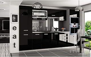 Hucoco Prisma | Cuisine Complète Modulaire + Linéaire L 300cm 8 pcs | Plan de Travail Inclus | Ensemble armoires Meubles C...