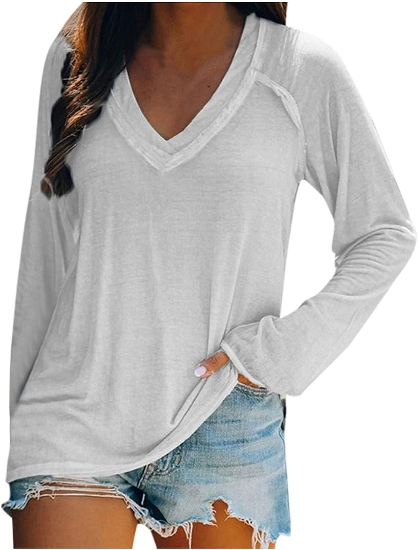 Women V Neck Oversize Tops, Long Sleeve Fall Shirts Blouse Trendy Casual Y2K Sweatshirt Tshirts Vintage Elegant Sweater