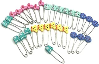GTONEE Cute Animal Fruit Baby Safety Pins Secure Clips for Fastening Baby Clothes Diaper Napkins Stainless Steel 5CM 30PCS (Animal)