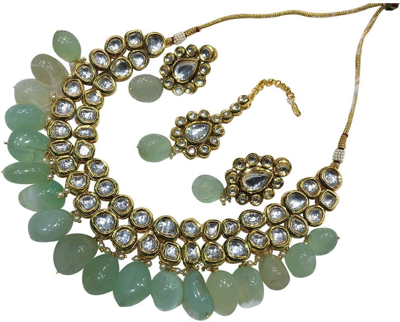 BabosaSakhi Kundan Tea Green Necklace Tika Earring Bridal Set