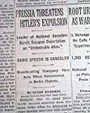 ADOLPH HITLER Expulsion ? & FAST AIRPLANES Future in Rockets ? 1931 Newspaper THE NEW YORK TIMES, December 12, 1931
