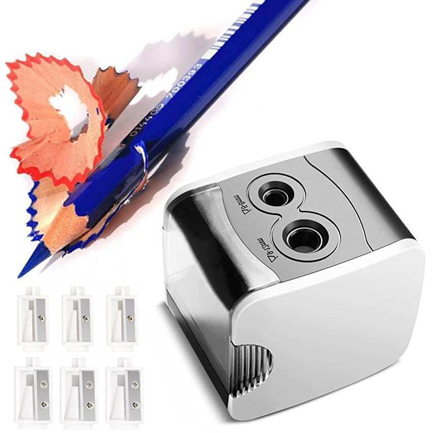 Electric Pencil Sharpener Normei Double Holes, Battery Powerd or USB Charging, Non-skid Rubber Feet, Heavy Duty, Drawing Coloring Pencils Sharpener for School, Home, Office, Studio (White)