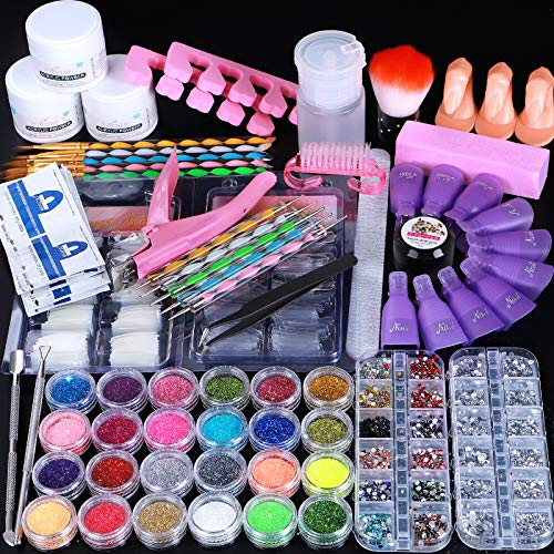 Cooserry 79 in 1 Acrylic Nail Kit Set - 24 Acrylic Nail Glitter Powder with Rhinestones for Nail Art Decoration - Gel Nail Polish Remover Kit for Nail Beginners Supplies