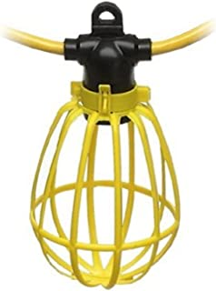 100 Foot Outdoor Yellow Commercial Contractor-Grade Plastic Cage String Lights 100FT 10 Sockets